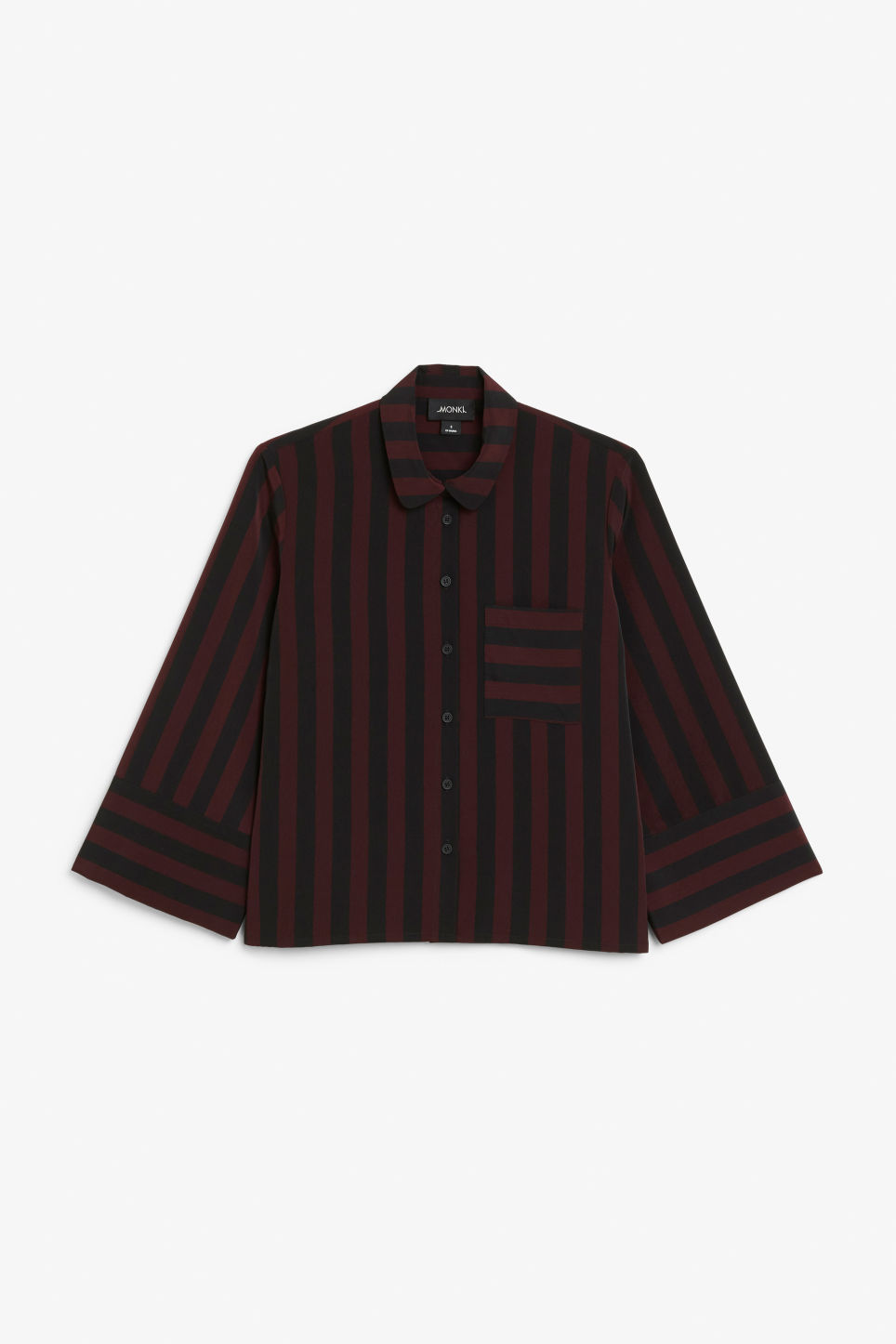 Front image of Monki oversized button-up blouse in red