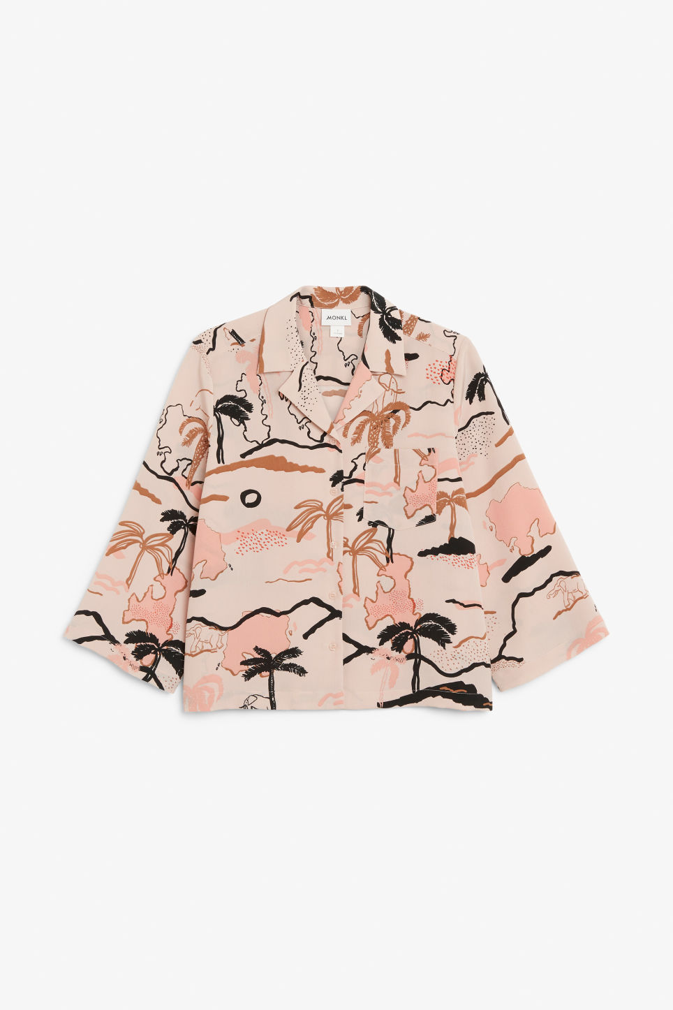 Front image of Monki wide sleeve blouse in beige
