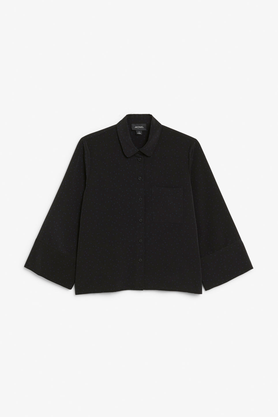 Front image of Monki wide button-up blouse in black