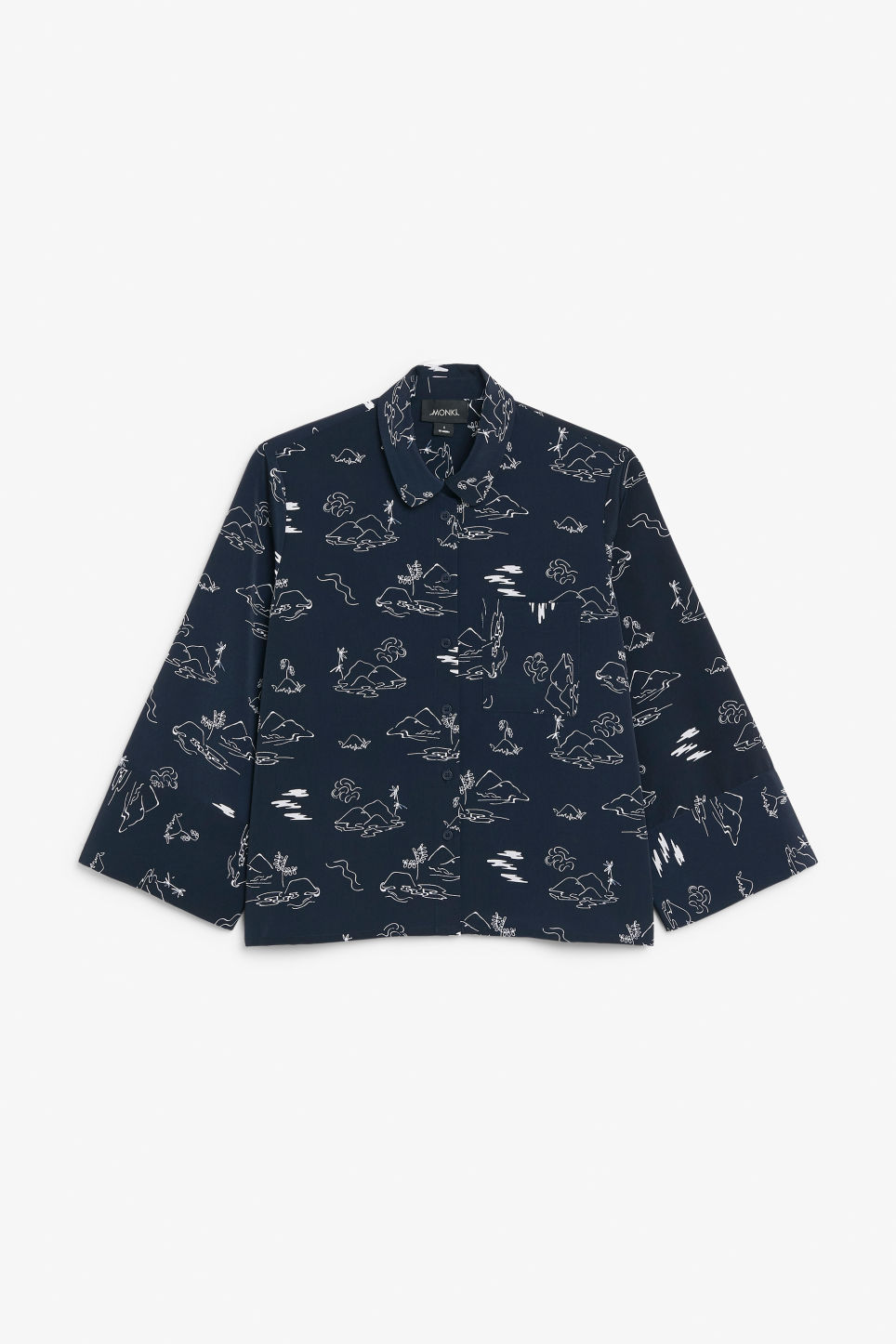 Front image of Monki wide button-up blouse in blue