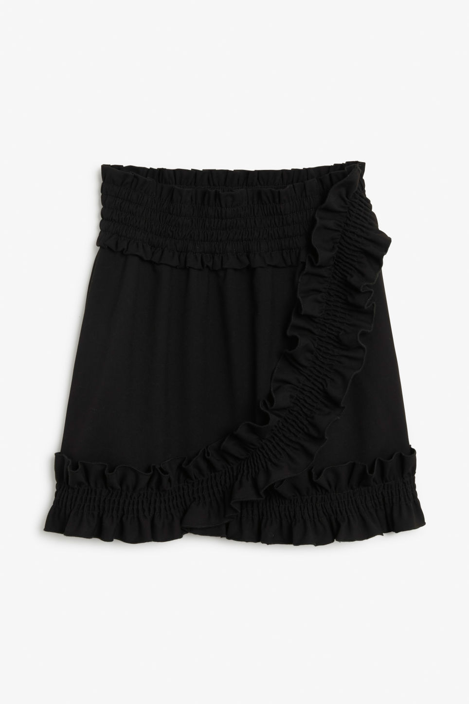 Front image of Monki ruffled mini skirt in black