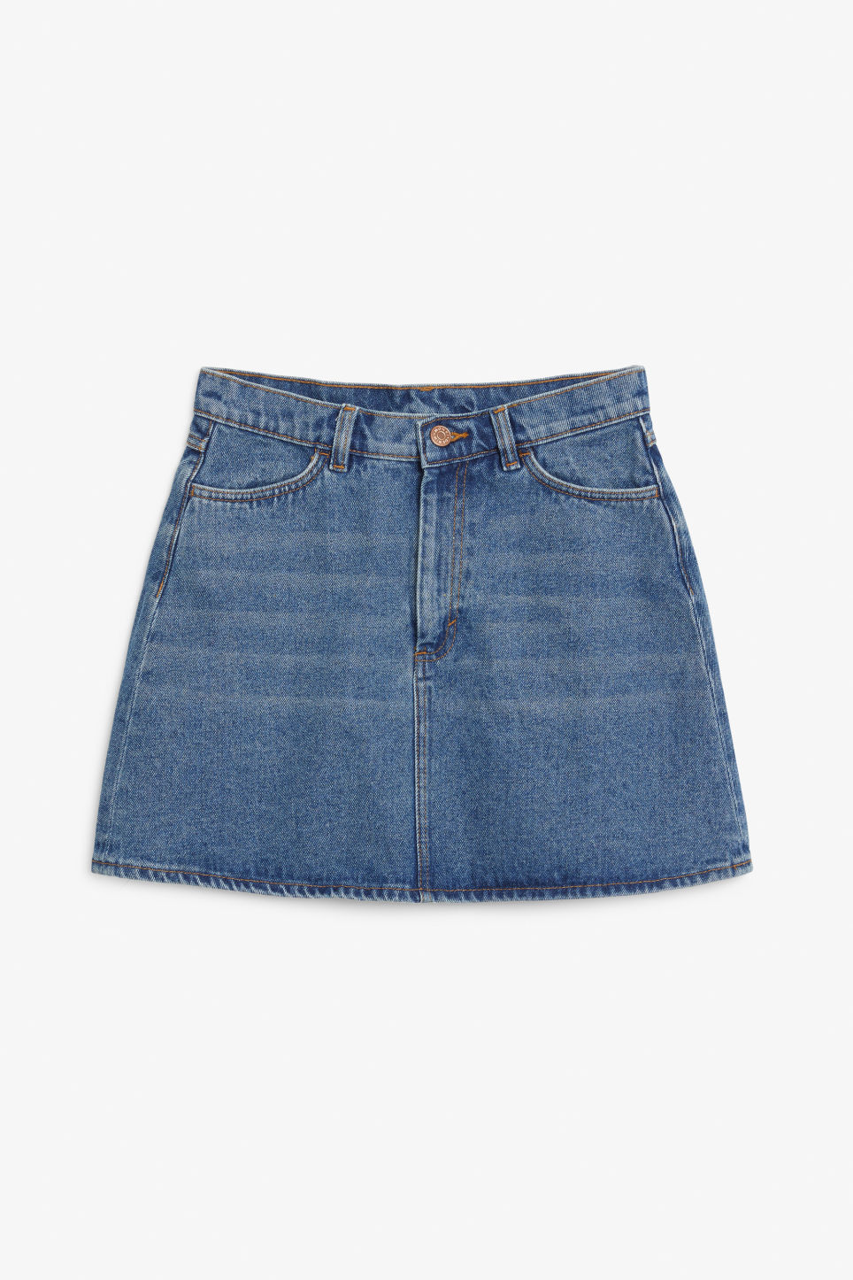 Front image of Monki denim skirt in blue