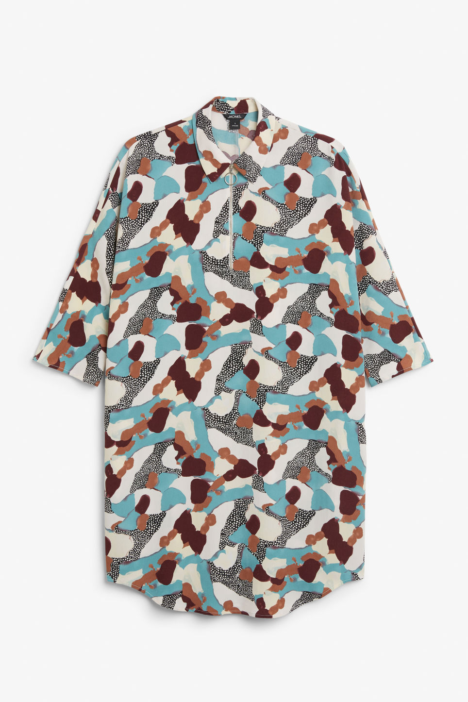 Front image of Monki shirt dress in turquoise