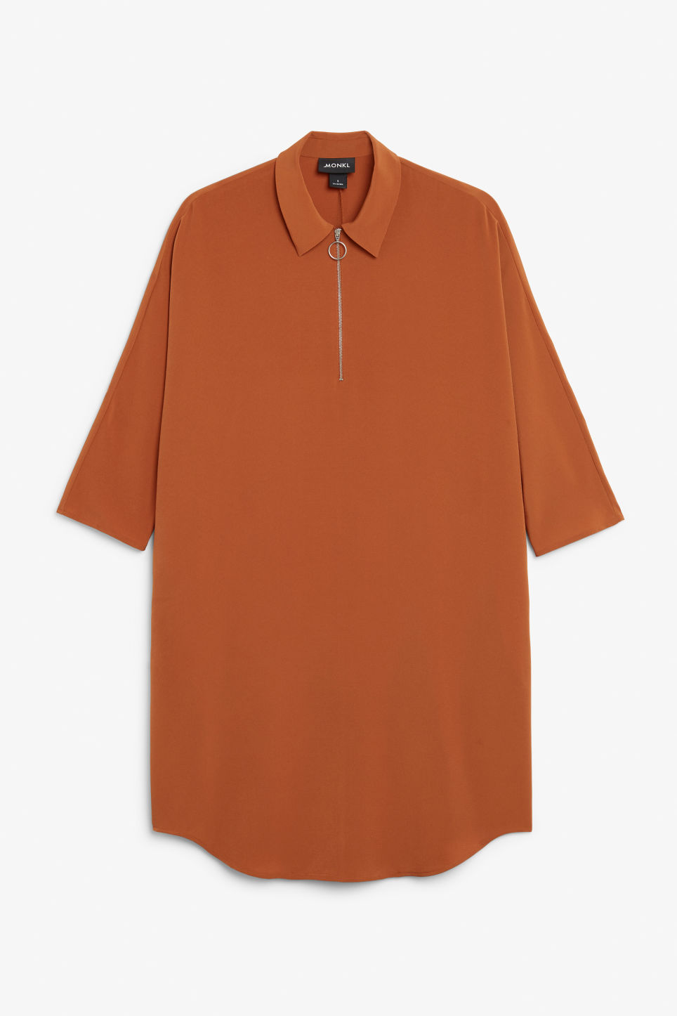 Front image of Monki zip front shirt dress in orange