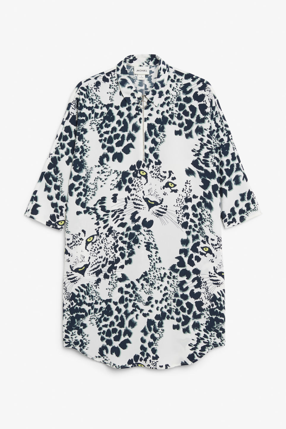 Front image of Monki zip front shirt dress in white