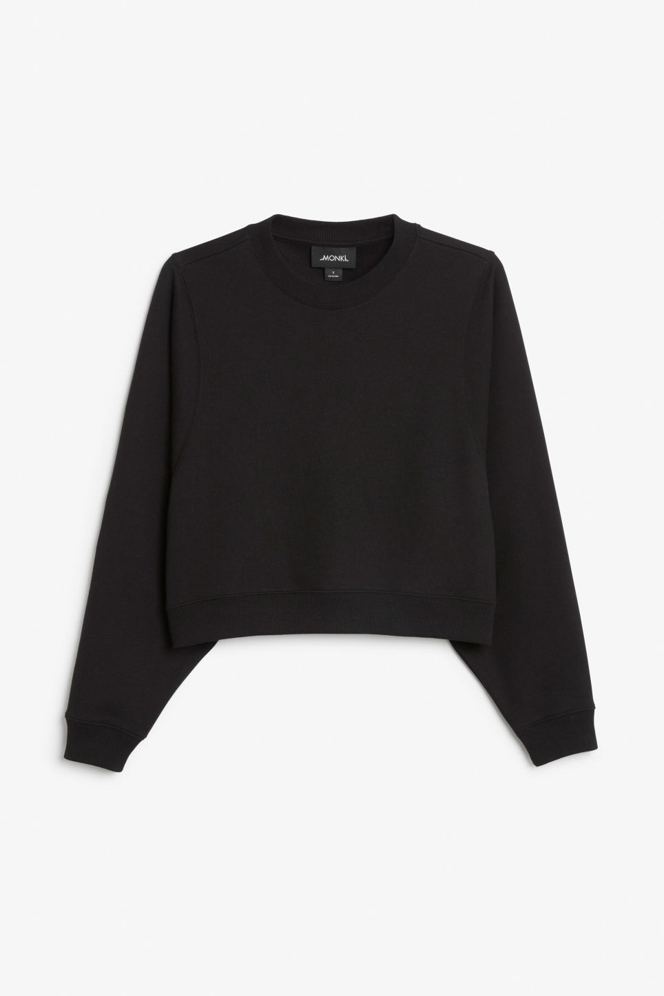 Front image of Monki cropped sweater in black