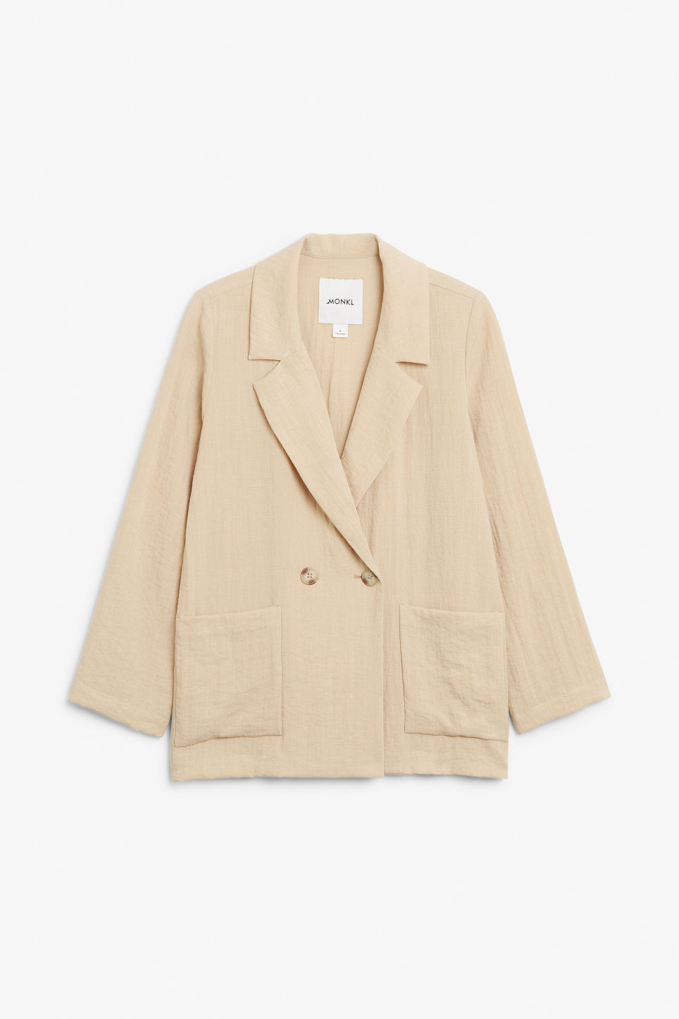Front image of Monki double-breasted blazer in beige