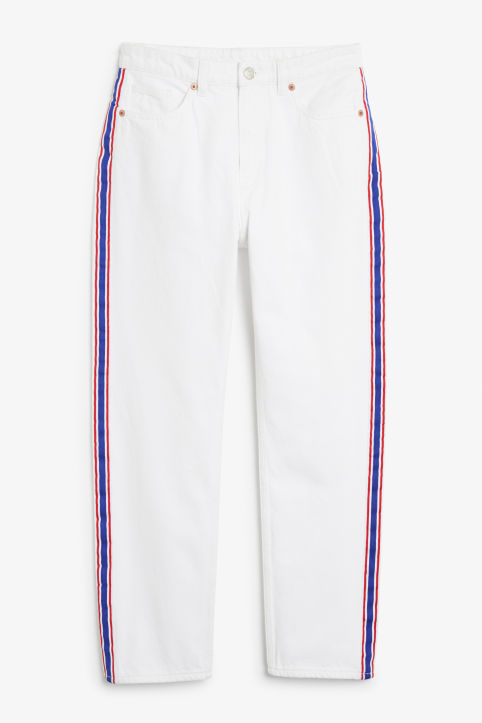Front image of Monki moluna striped jeans in white