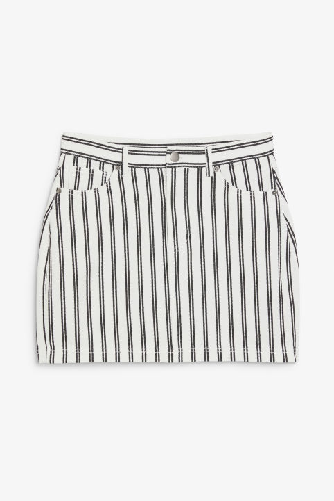 Front image of Monki striped mini skirt in white