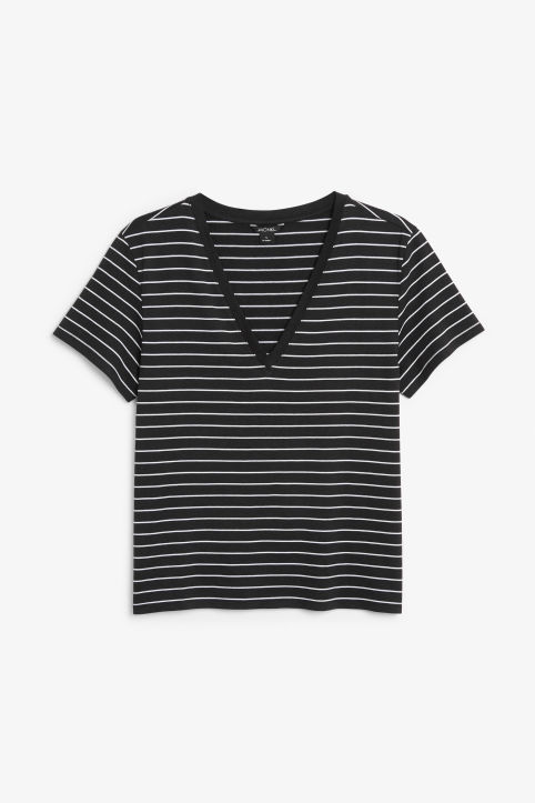 Front image of Monki v-neck tee in black