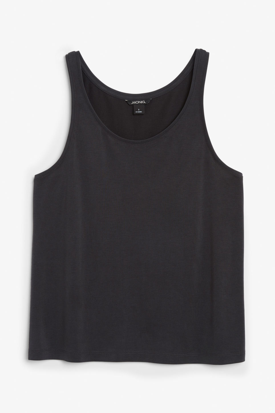 Front image of Monki super-soft singlet in black