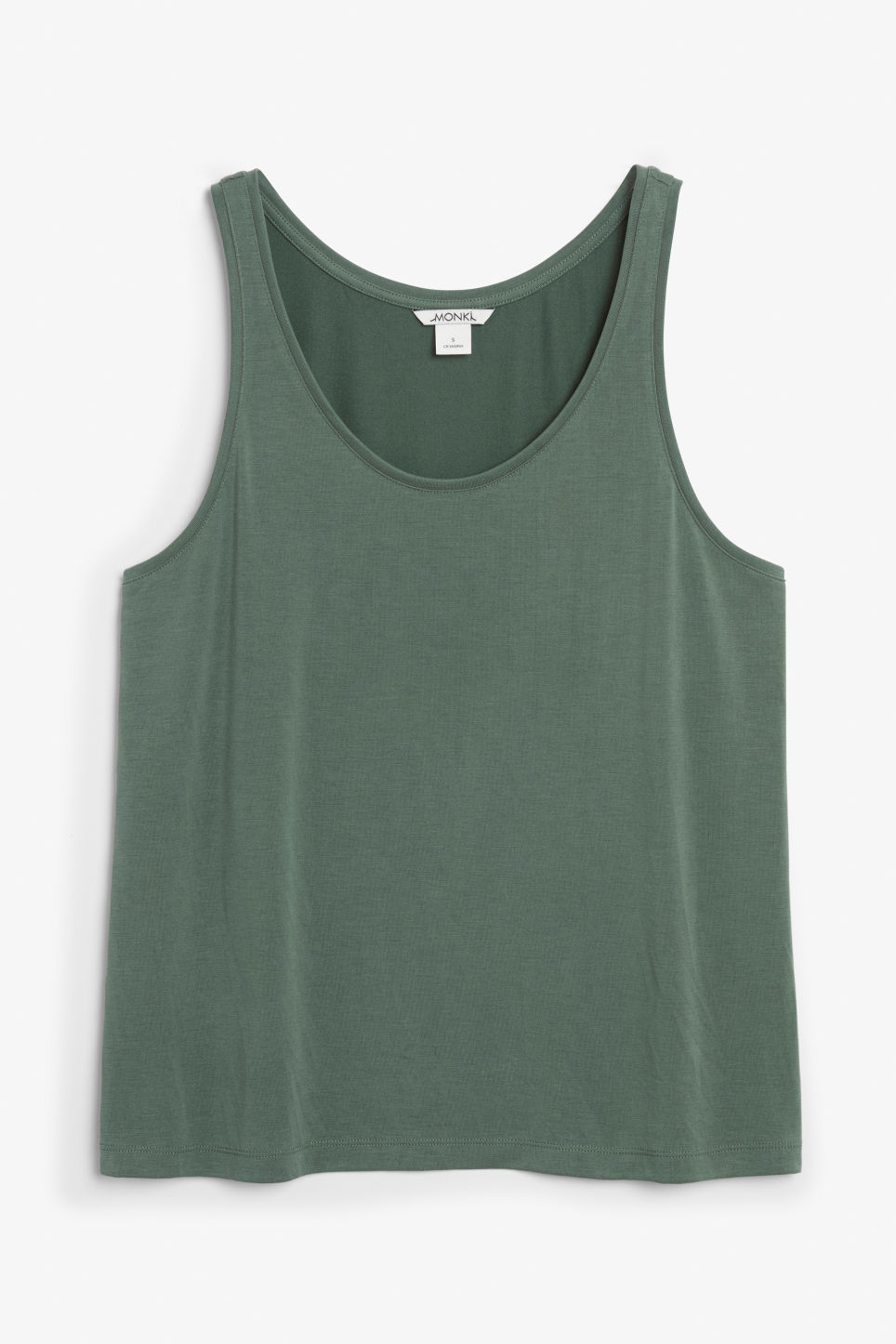 Front image of Monki super-soft singlet in green