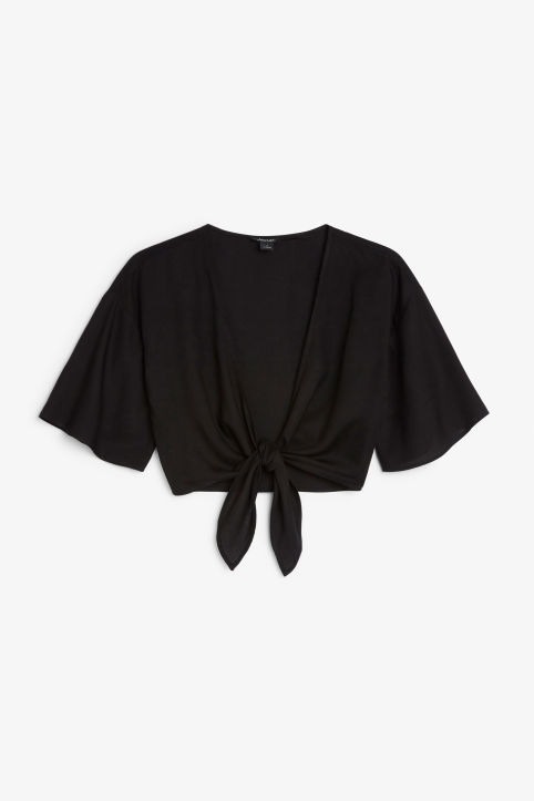 Front image of Monki cropped tie blouse in black