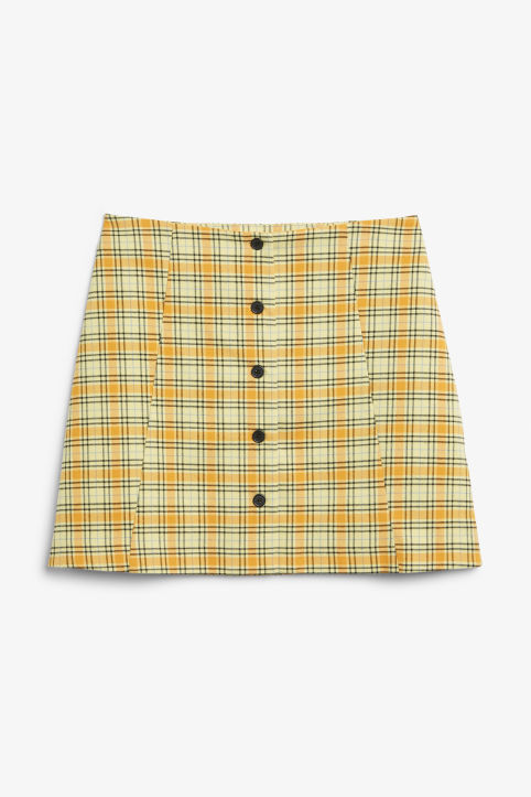 Front image of Monki a-line mini skirt  in yellow