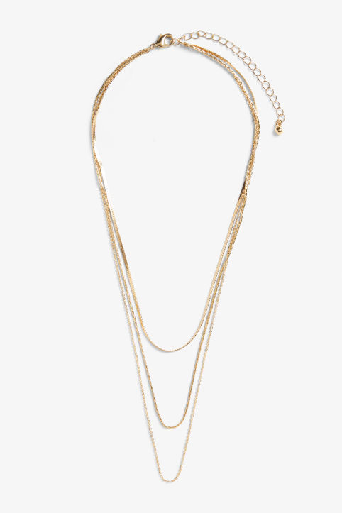 Front image of Monki three-chain necklace in gold