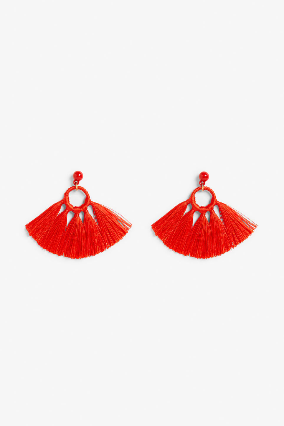 Front image of Monki tassel hoop earrings in red