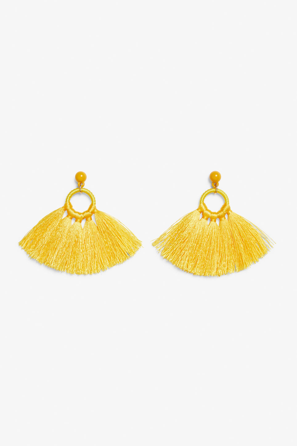 Front image of Monki tassel hoop earrings in yellow