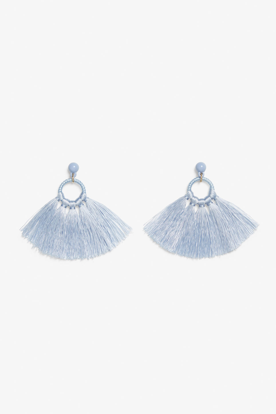 Front image of Monki tassel hoop earrings in blue