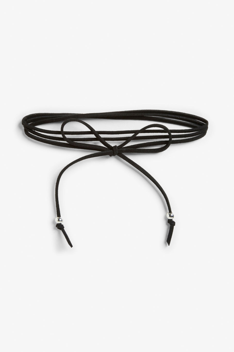 Front image of Monki tie-a-bow choker in black