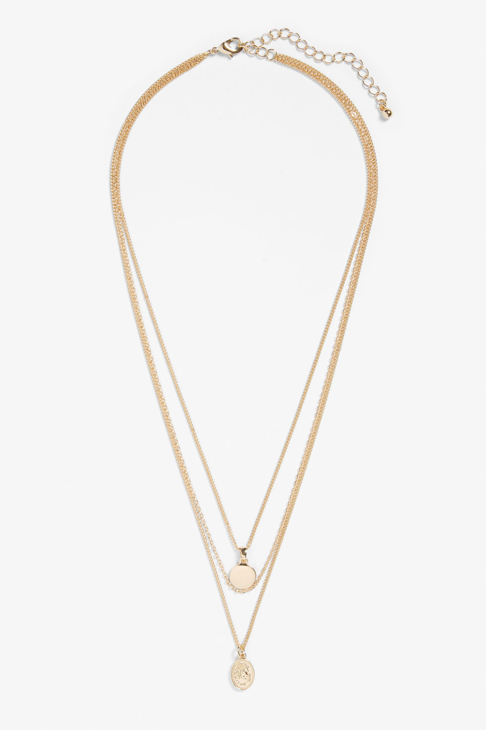 Front image of Monki three-chain charm necklace in gold