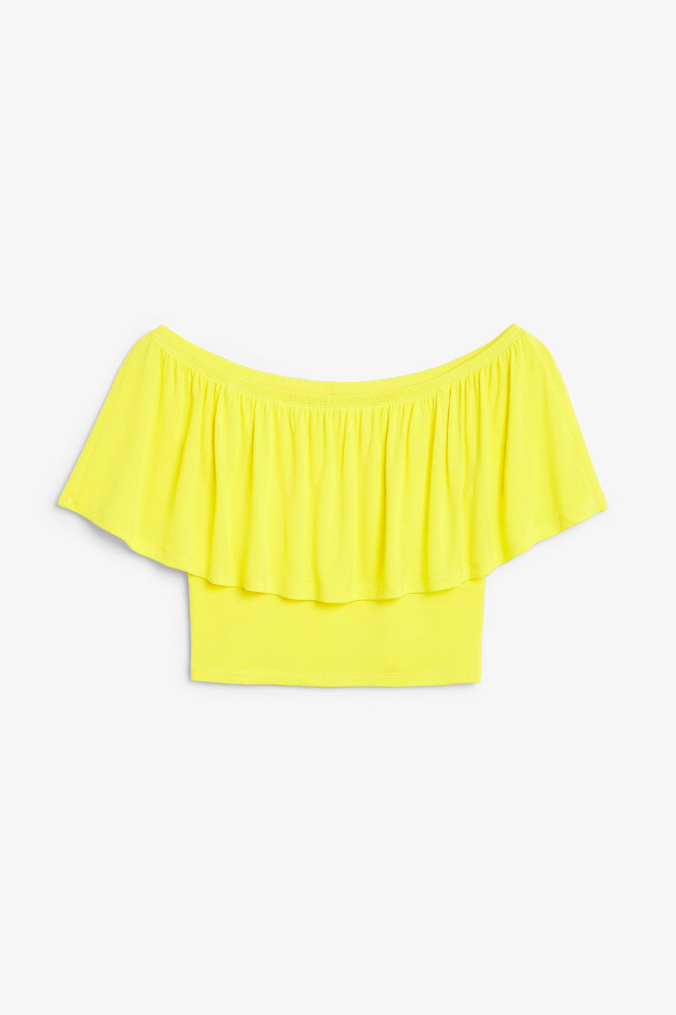 Front image of Monki cold shoulder top in yellow