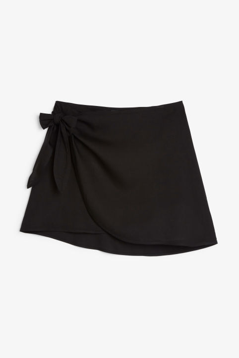 Front image of Monki wrap skirt in black