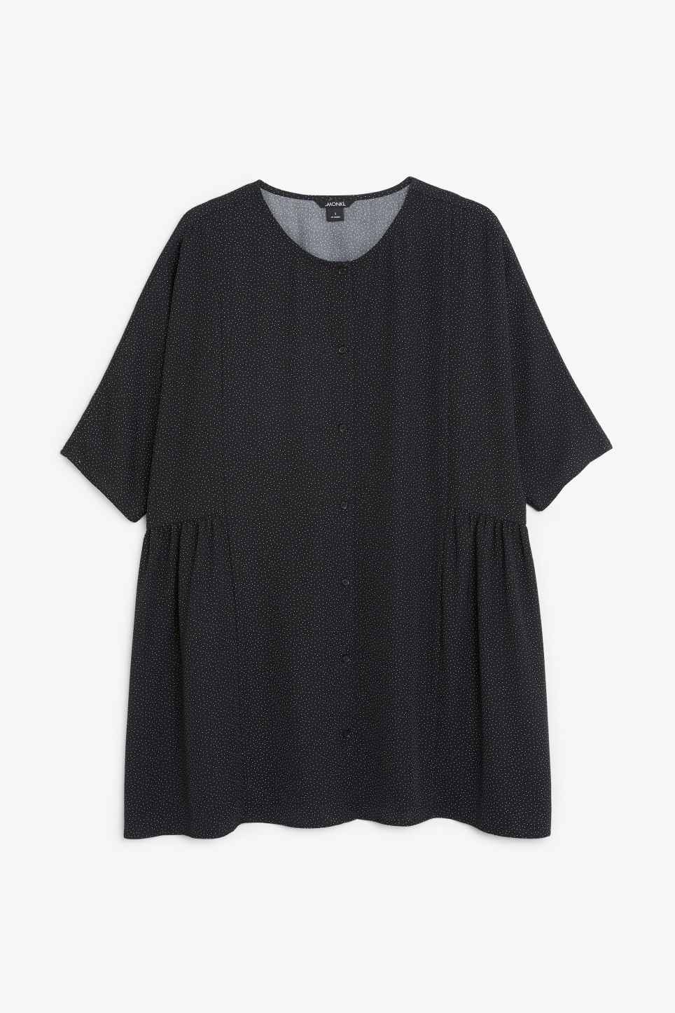 Front image of Monki ruffled dress in black