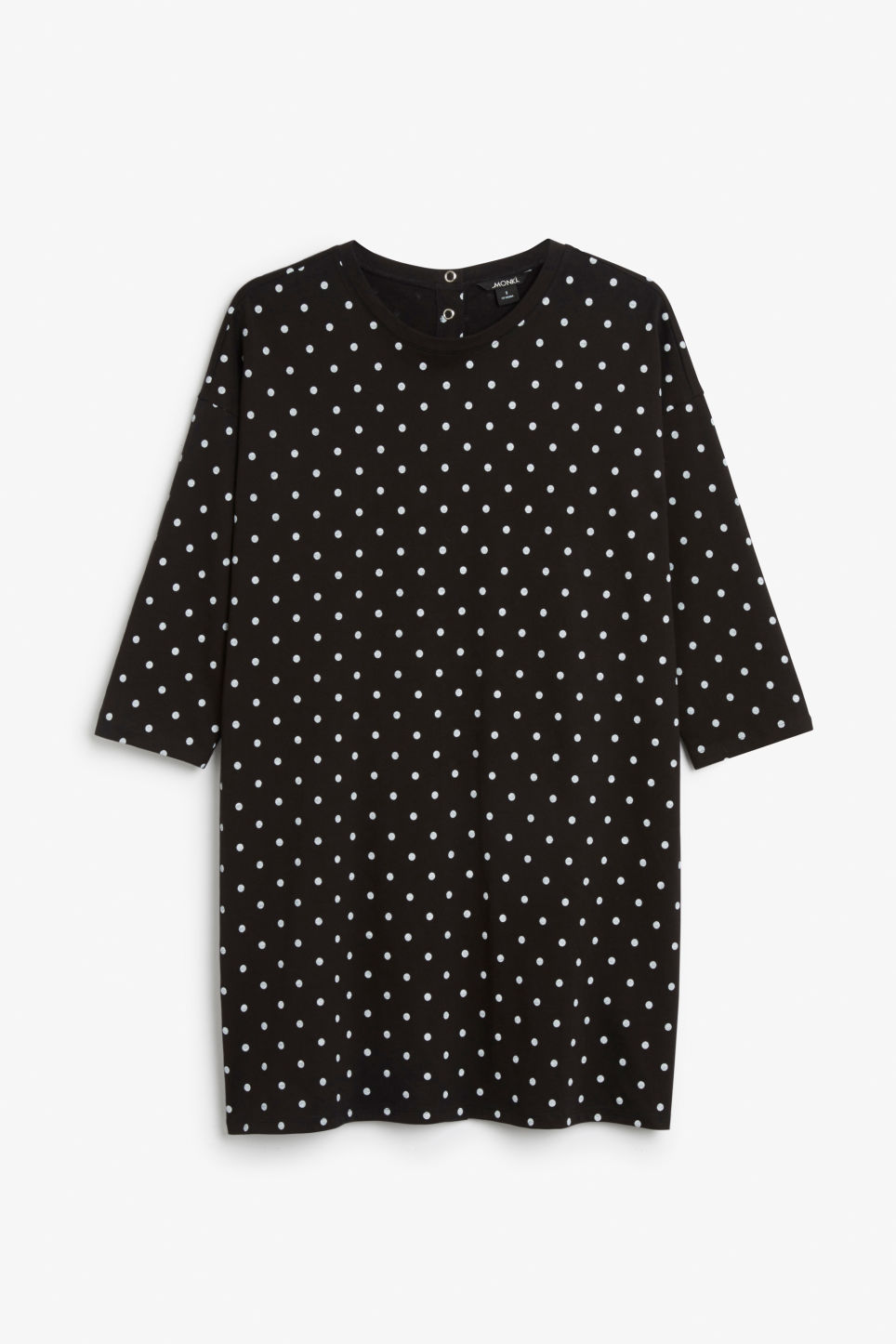 Front image of Monki button back dress in black