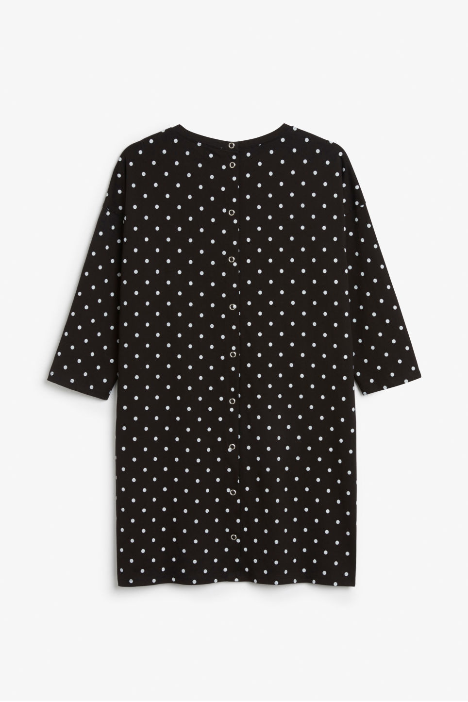 Back image of Monki button back dress in black
