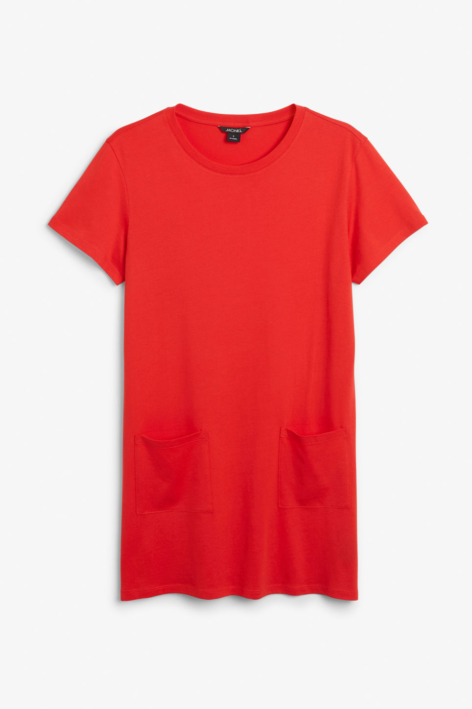 Front image of Monki soft t-shirt dress in red
