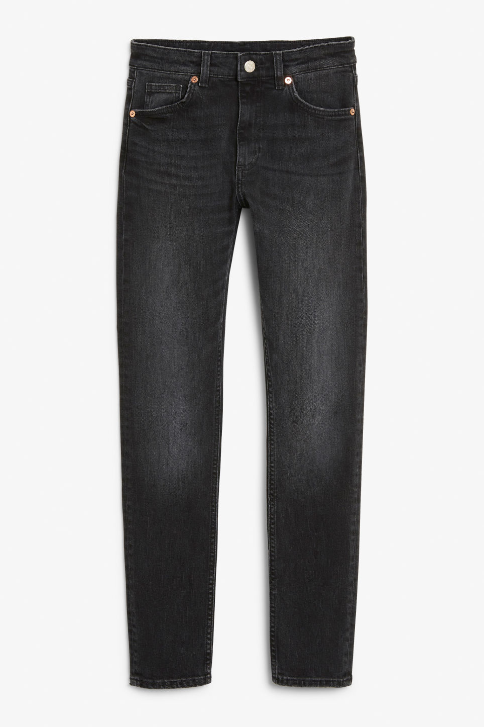 Front image of Monki moop washed black jeans in black