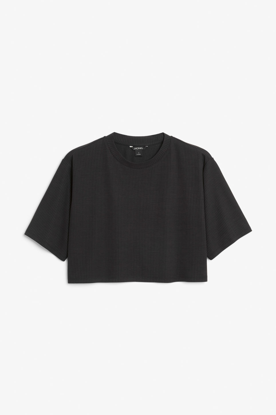Front image of Monki cropped top in black