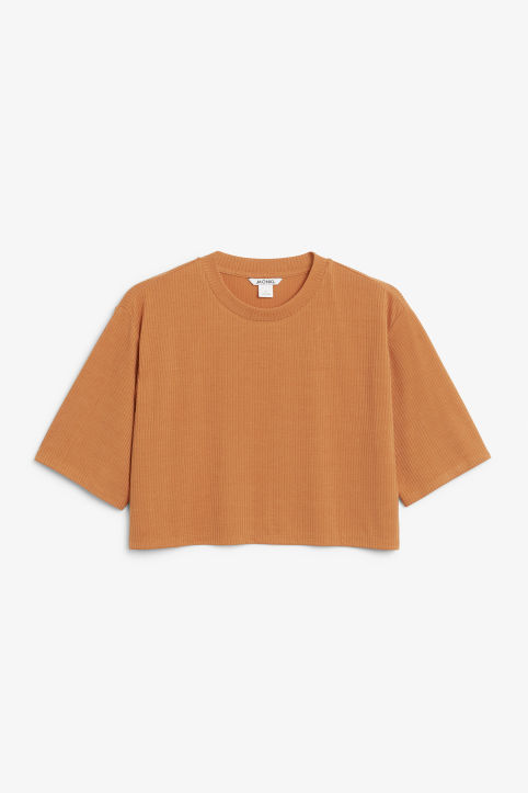 Front image of Monki cropped top in orange