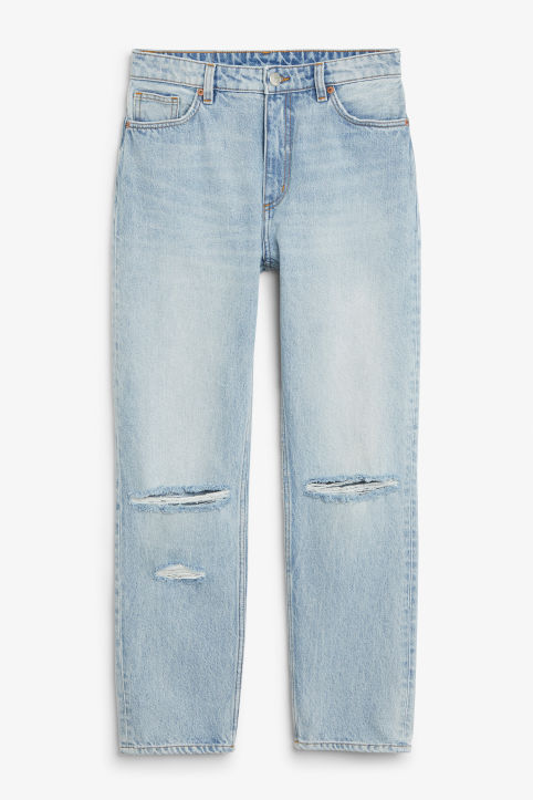 Front image of Monki moluna distressed jeans in blue