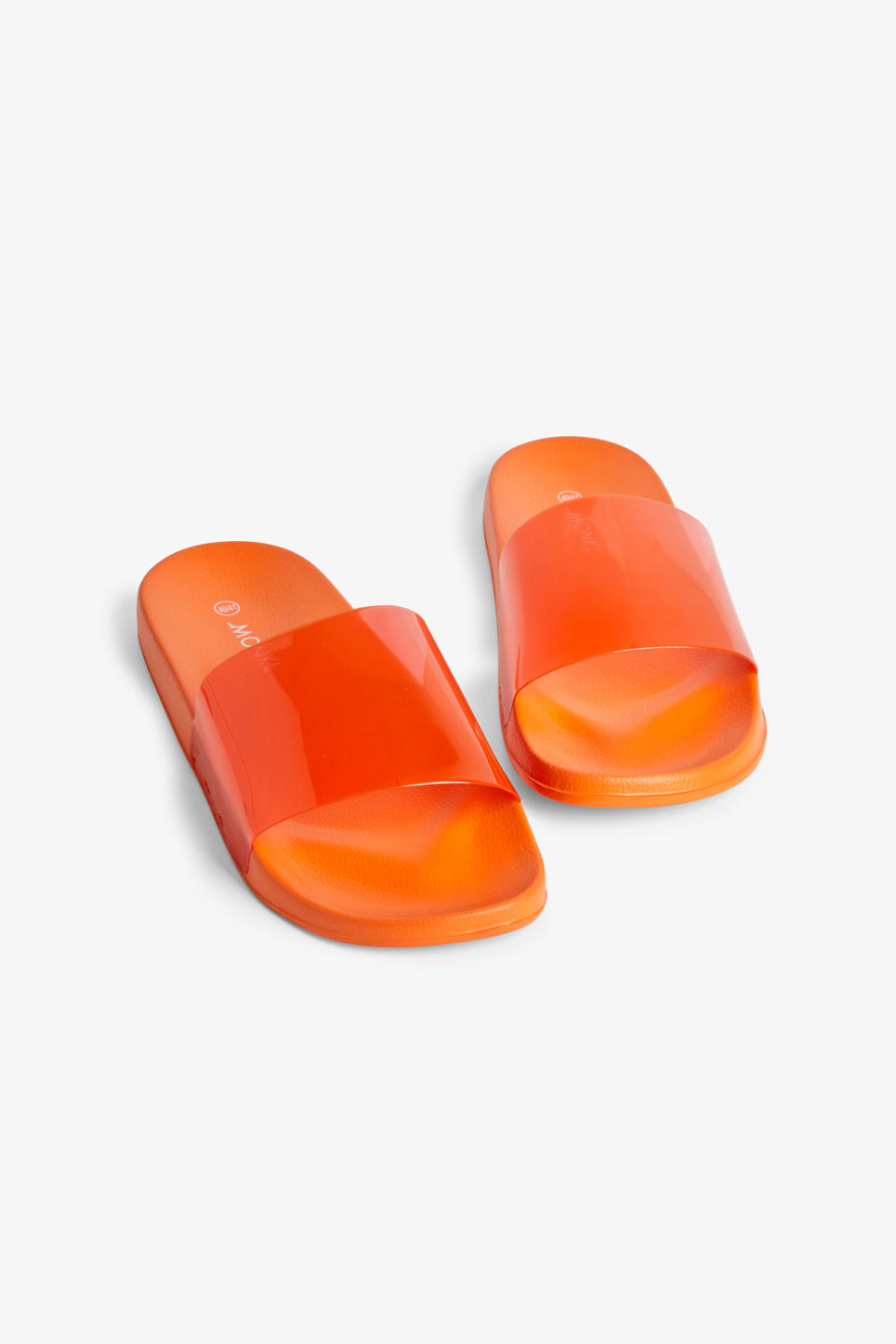 Front image of Monki beach sandals in orange