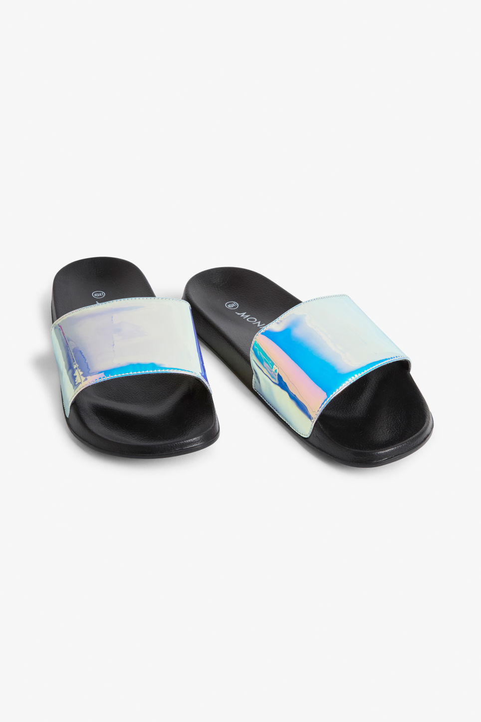 Front image of Monki beach sandals in silver
