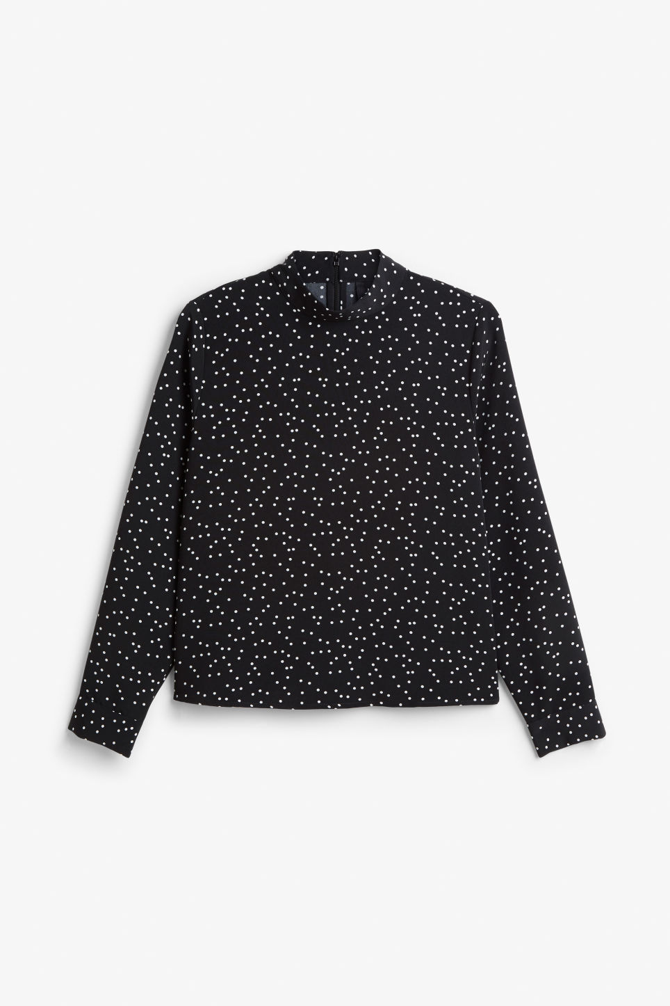 Front image of Monki turtleneck blouse in black