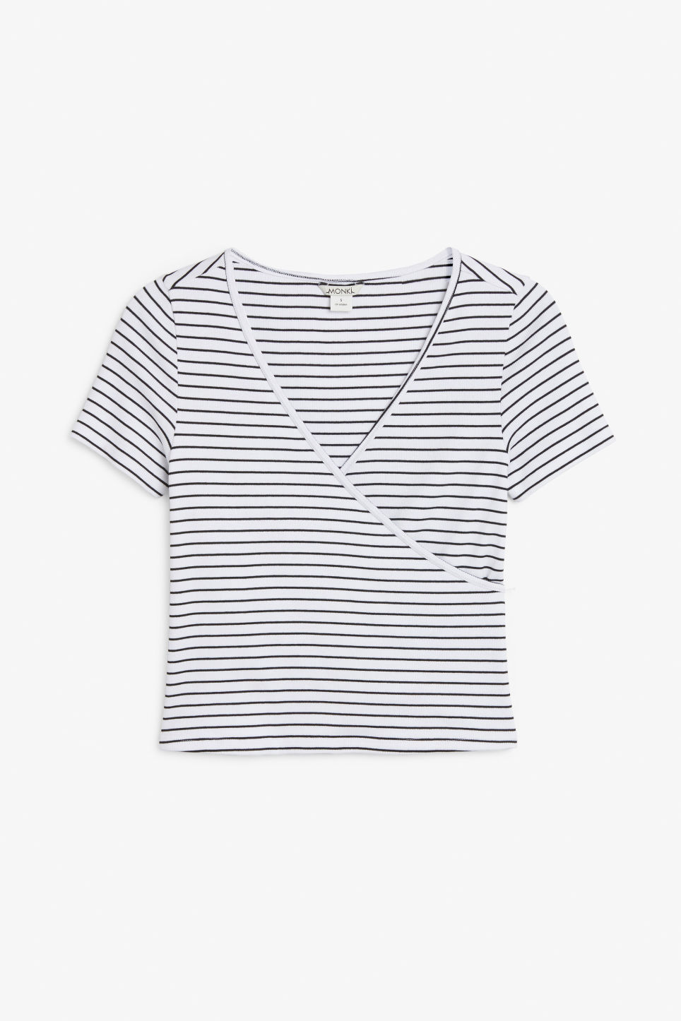 Front image of Monki ribbed wrap top in white