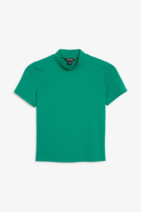Front image of Monki short-sleeved turtleneck in green