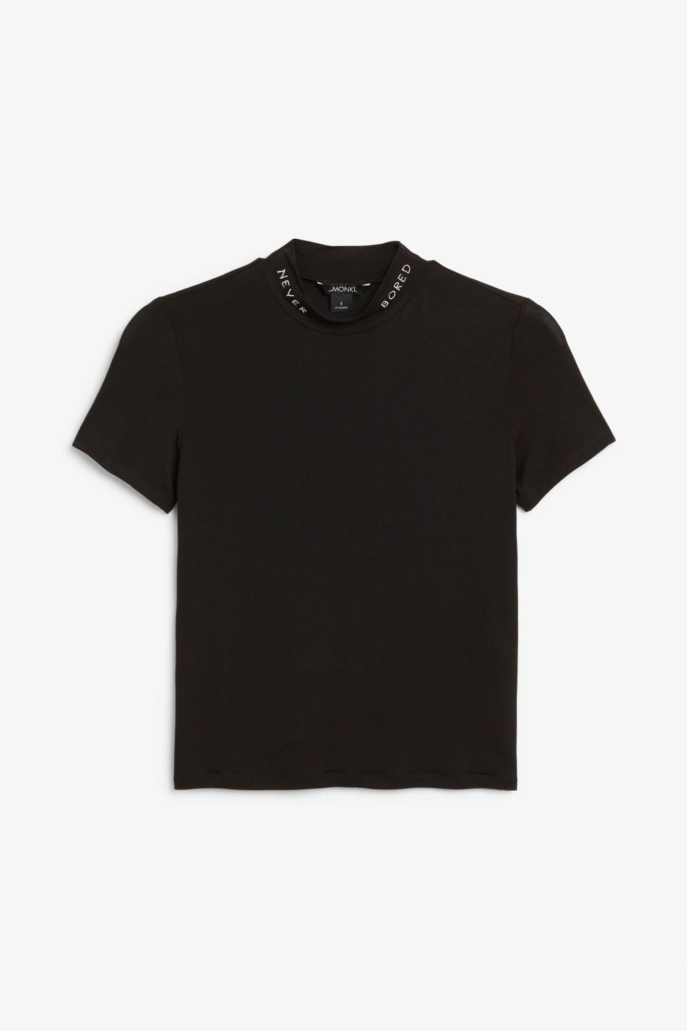 Front image of Monki short-sleeved turtleneck in black