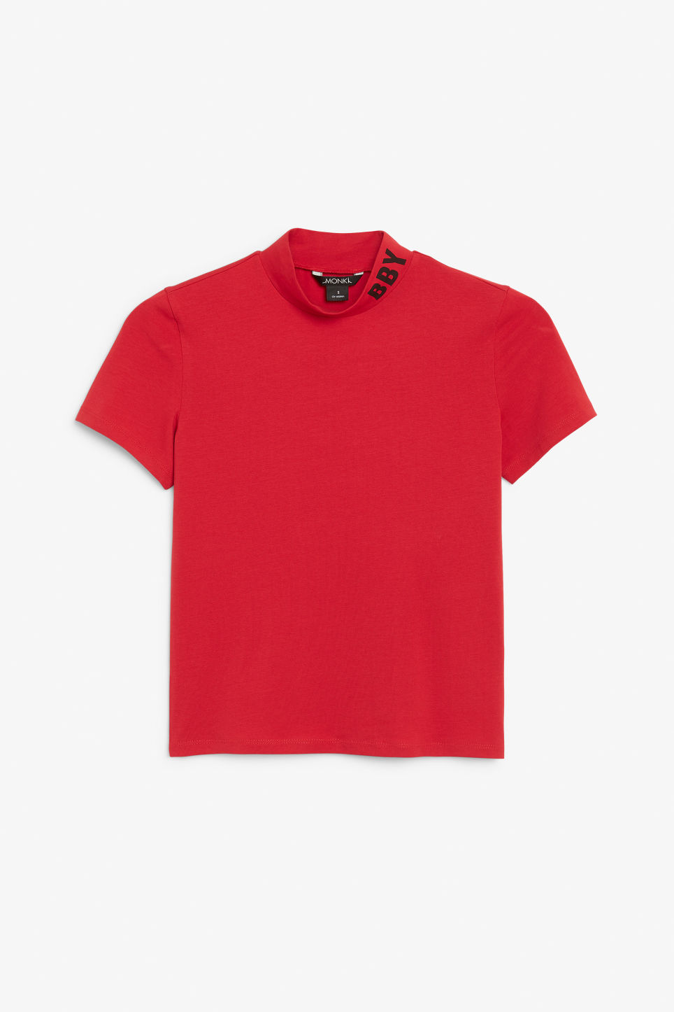 Front image of Monki short-sleeved turtleneck in red