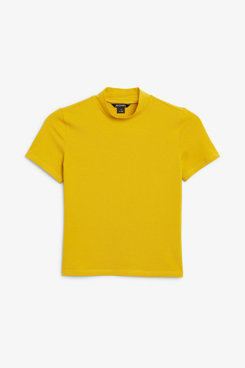Front image of Monki short-sleeved turtleneck in yellow