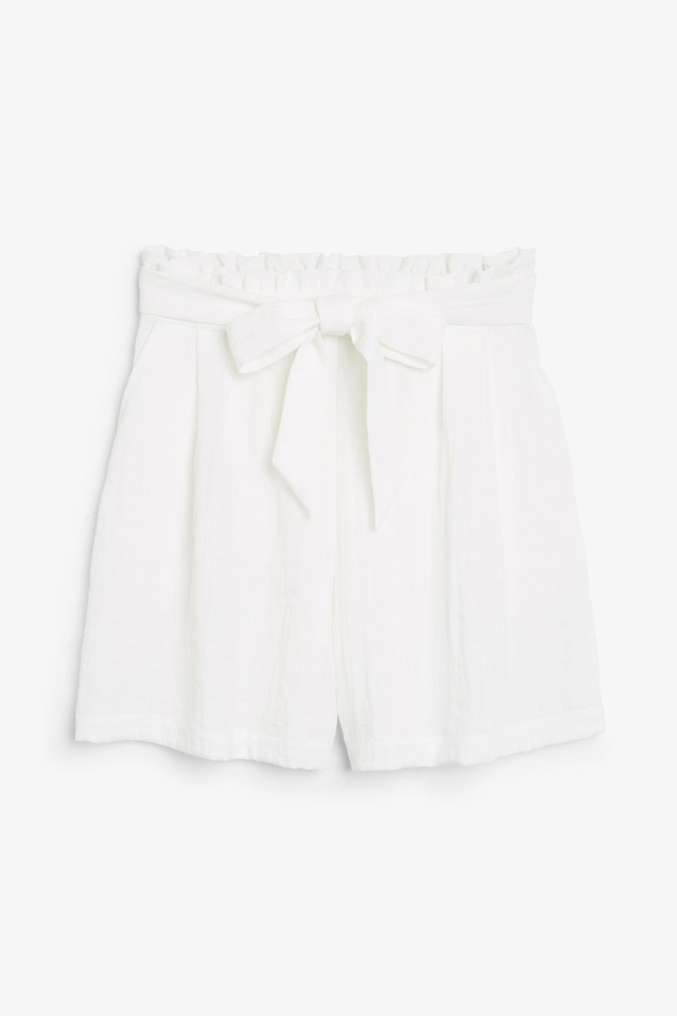 Front image of Monki flowy shorts in white