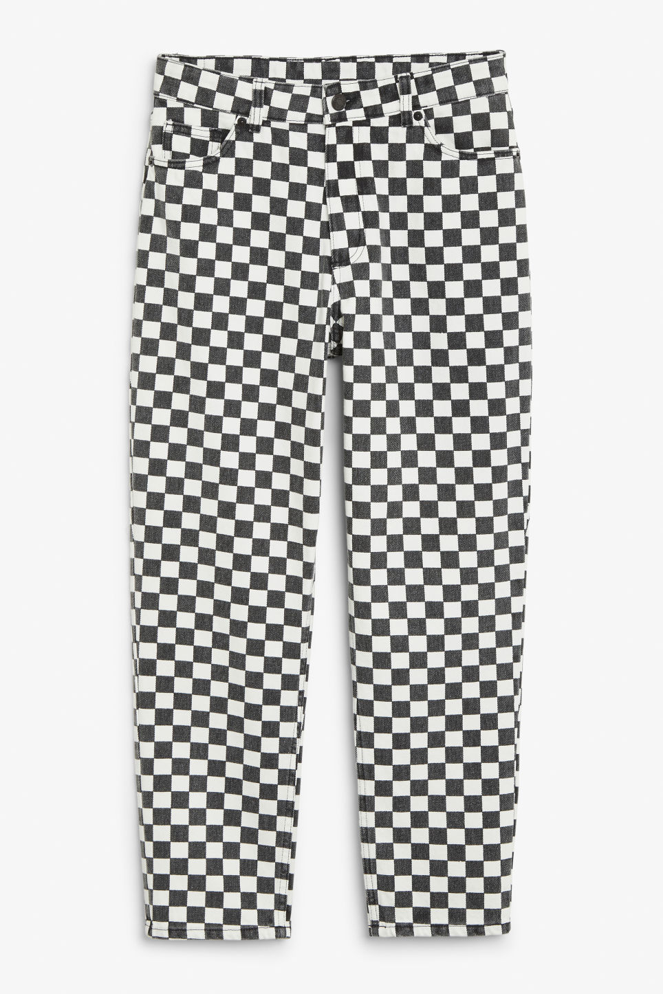 Front image of Monki taiki checked jeans in white
