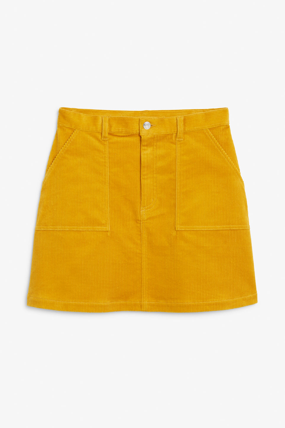 Front image of Monki a-line cord mini skirt in yellow