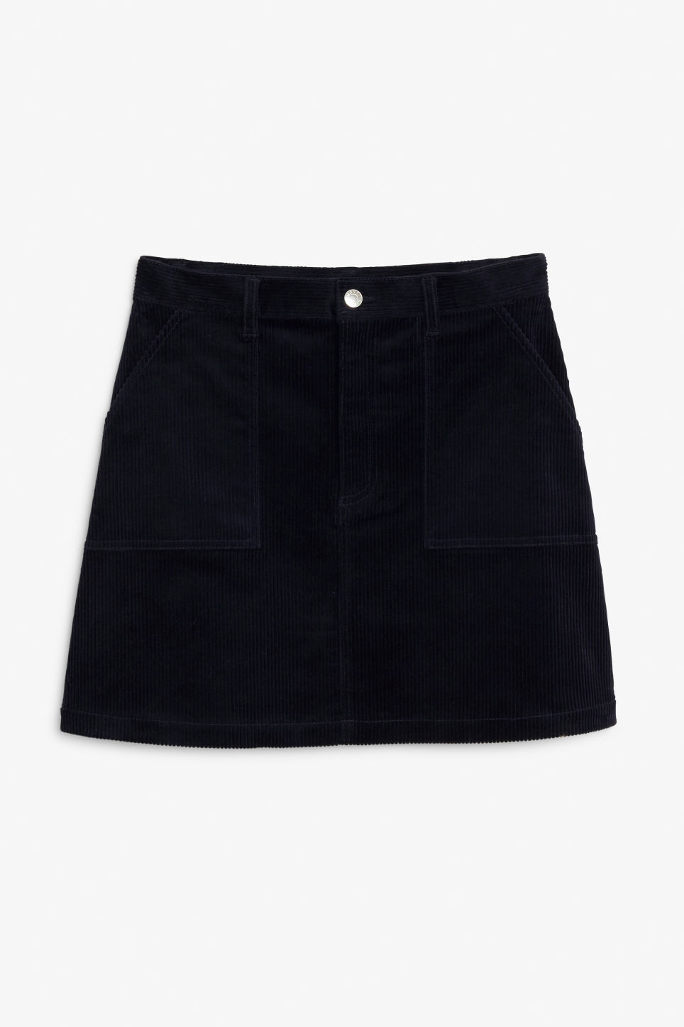Front image of Monki a-line cord mini skirt in blue