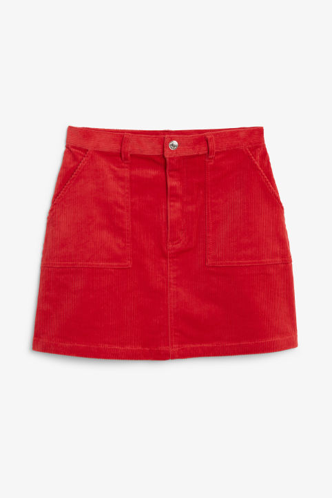 Front image of Monki a-line cord mini skirt in red