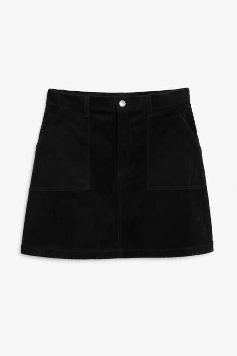 Front image of Monki a-line cord mini skirt in black