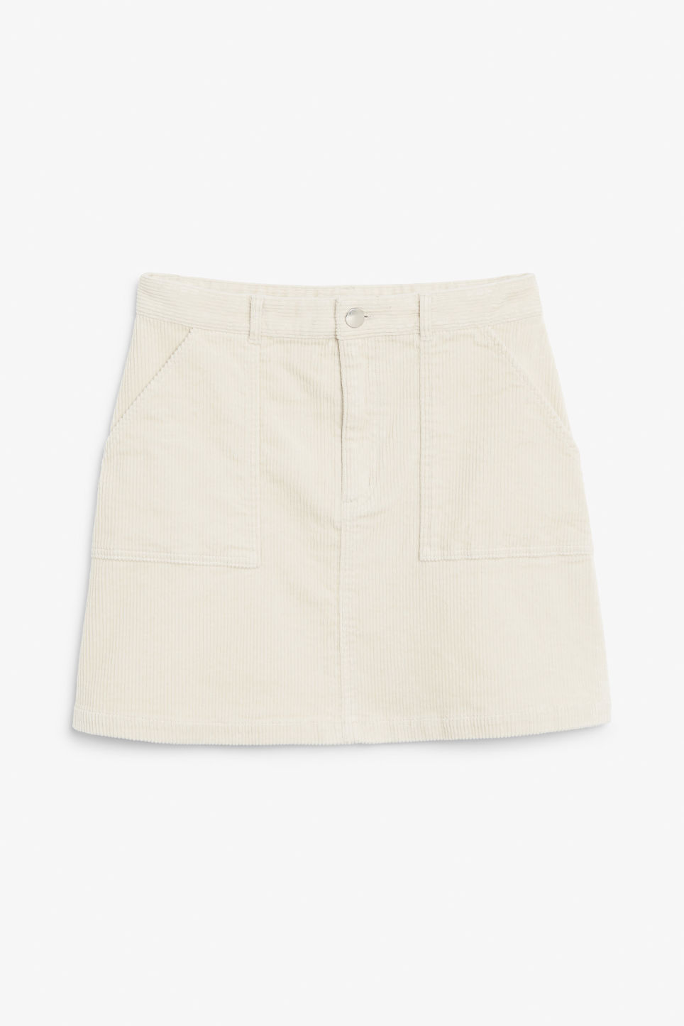 Front image of Monki a-line cord mini skirt in beige
