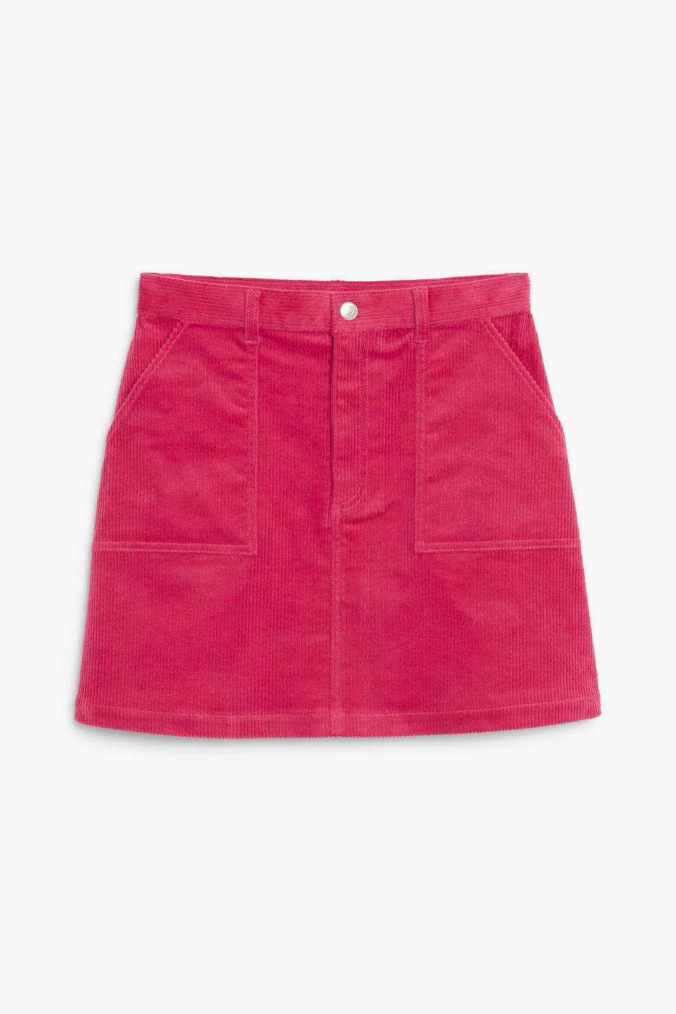 Front image of Monki a-line cord mini skirt in pink